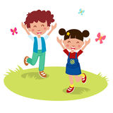 Vektorillustration der glücklichen Kinderkarikatur Lizenzfreies Stockbild