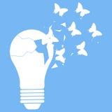 Vektorillustration der Glühlampe auf Blau Lizenzfreie Stockfotos