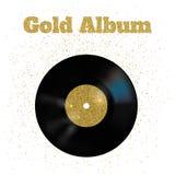 Vektorillustration der Goldmetallvinylscheibe Lizenzfreie Stockfotografie