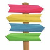 Vektorillustration der hölzernen Wegzeichenfarbe Stockbilder