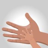 Vektorillustration der Hand des Vaters Stockbilder