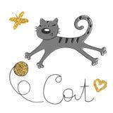 Vektorillustration der Hand gezeichneten Skizze Katze, die mit einer Kugel spielt Goldener Schmetterling und Schlaufe vektor abbildung