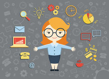 Vektorillustration der jungen Geschäftsfrau Stockfoto