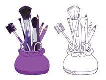 Vektorillustration der kosmetischen Produkte Lizenzfreie Stockfotos