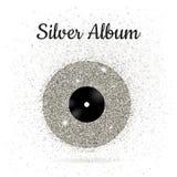 Vektorillustration der Metallvinylscheibe: Silber Stockbild
