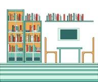 Vektorillustration der modernen kreativen Bibliothek Stockfotografie