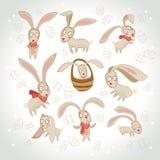 Vektorillustration der Sammlung von Osterhasen Lizenzfreie Stockfotos