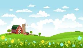 Vektorillustration der schönen Landschaft mit Bauernhof Lizenzfreies Stockbild