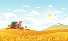 Vektorillustration der schönen Landschaft mit Bauernhof Lizenzfreie Stockbilder