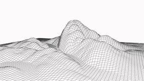 Vektorillustration der Technologie 3d Abstraktion Landschaftsentwurf von Bergen stockbilder