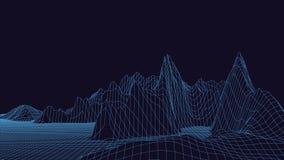 Vektorillustration der Technologie 3d Abstraktion Landschaftsentwurf von Bergen stock abbildung