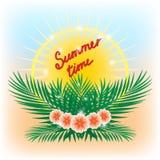 Vektorillustration der tropischen Blumensommerstrandfesteinladung mit Palmblättern, Blumen und Sonne vektor abbildung
