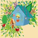 Vektorillustration der Vögel im Vogelhaus Lizenzfreies Stockbild