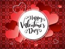 Vektorillustration der Valentinsgruß ` s Tagesgrußkarte mit Handbeschriftungsaufkleber - glücklicher Valentinsgruß ` s Tag - mit  Lizenzfreie Stockfotos