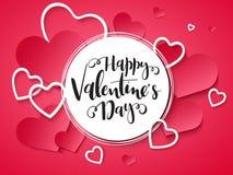 Vektorillustration der Valentinsgruß ` s Tagesgrußkarte mit Handbeschriftungsaufkleber - glücklicher Valentinsgruß ` s Tag - mit  Stockfotografie