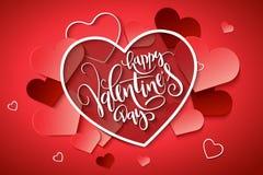 Vektorillustration der Valentinsgruß ` s Tagesgrußkarte mit Handbeschriftungsaufkleber - glücklicher Valentinsgruß ` s Tag - mit  Lizenzfreie Stockbilder