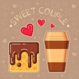 Vektorillustration der Waffel mit Schokoladenglasur und Kaffeetasse Stockfoto