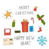 Vektorillustration der Weihnachtsgrußkarte Stockbild