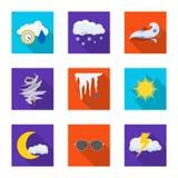 Vektorillustration der Wetter- und Klimaikone Sammlung Vektorillustration des Wetters und der Wolke der auf Lager lizenzfreie abbildung