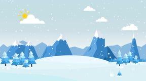 Vektorillustration der Winter-Landschaft Stockfotografie