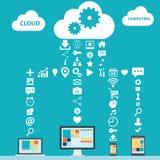 Vektorillustration der Wolke Datenverarbeitungsfarb Lizenzfreies Stockbild