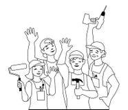 Vektorillustration des Arbeitsteams, Handwerker stock abbildung