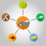 Vektorillustration des Autos auf grauem Hintergrund Lizenzfreie Stockbilder