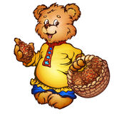 Vektorillustration des Bären mit Kiefernkegeln Stockbilder