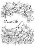 Vektorillustration des Blumenrahmens Zen Tangle Lizenzfreies Stockbild