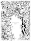 Vektorillustration des Blumenrahmens Zen Tangle Dudlart Stockbilder