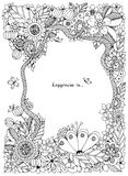 Vektorillustration des Blumenrahmens Zen Tangle Dudlart Stockfotografie