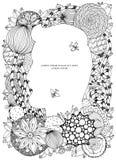 Vektorillustration des Blumenrahmens Zen Tangle Dudlart Stockfotos