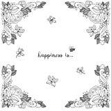 Vektorillustration des Blumenrahmens Zen Tangle Dudlart Malbuchantidruck für Erwachsene Farbtonseite Schwarzes Weiß Lizenzfreie Stockbilder