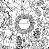 Vektorillustration des Blumenrahmens Zen Tangle Dudlart Malbuchantidruck für Erwachsene Farbtonseite Schwarzes Weiß Lizenzfreies Stockbild