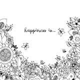 Vektorillustration des Blumenrahmens Zen Tangle Dudlart Malbuchantidruck für Erwachsene Farbtonseite Schwarzes Weiß Lizenzfreies Stockfoto