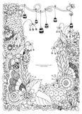 Vektorillustration des Blumenrahmens Zen Tangle Dudlart Malbuchantidruck für Erwachsene Farbtonseite Schwarzes Weiß Stockfoto