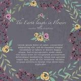 Vektorillustration des bunten Blumensatzes Rosen und Kräuter I Stockbilder