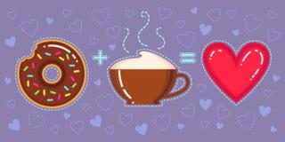 Vektorillustration des Donuts mit Schokoladenglasur, Cappuccinoschale und rotem Herzen Stockbild