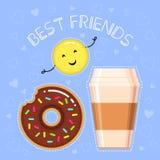 Vektorillustration des Donuts mit Schokoladenglasur, Kaffeetasse, lächelndes gelbes emoji Stockbild