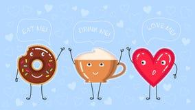 Vektorillustration des Donuts mit Schokoladenglasur, Kaffeetasse und rotem Herzen Stockbild