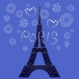 Vektorillustration des Eiffelturms und des romantischen Feuerwerks vektor abbildung