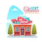 Vektorillustration des Eisdielegebäudes Beste Aromasammlungsfahne Lizenzfreie Stockfotos
