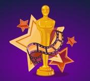 Vektorillustration des gelben Kinopreises mit Sternen und Film Stockfotos