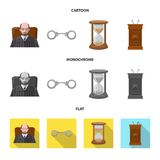 Vektorillustration des Gesetzes und der Rechtsanwaltikone Sammlung der Gesetzes- und Gerechtigkeitsvektorikone für Vorrat vektor abbildung