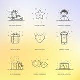 Vektorillustration des gesetzten Handels der Ikonen Einkaufs, Marketing, Geschäftskonzept in der Linie Art Lizenzfreie Stockfotografie