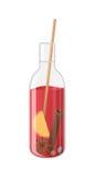 Vektorillustration des Glühweins in einer Flasche Lizenzfreie Stockfotografie