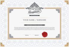 Vektorillustration des Goldausführlichen Zertifikats Lizenzfreies Stockbild