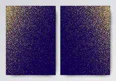 Vektorillustration des Goldfunkelns auf einem blauen Hintergrund Stock Abbildung