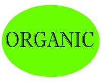 Vektorillustration des grünen organischen Aufkleberknopfes mit schwarzer Beschriftung auf weißem Hintergrund stockfoto
