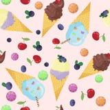 Vektorillustration des hellen Musters von Eiscreme auf rosa Hintergrund Hand gezeichnete Linie Kunstdesign für Netz, Standort Stockfotografie